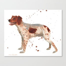 Brittany Spaniel, dog painting, Spaniel watercolor Canvas Print
