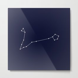 Pisces Astrology Star Sign Blue Minimal Metal Print