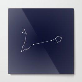 Pisces Star Sign Deep Blue Metal Print
