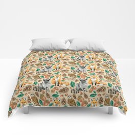 Woodland Creatures Illustrated Watercolor Pattern Comforters