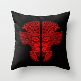 Red and Black Aztec Twins Mask Illusion Throw Pillow