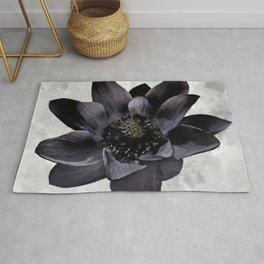 Black Lotus Watercolor Digital Art Rug