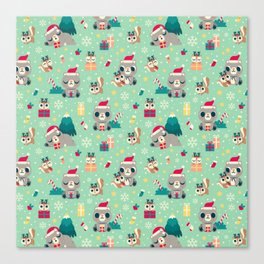 Holiday Woodland Animal Surface Pattern Design - Mint / Cute Animal Canvas Print