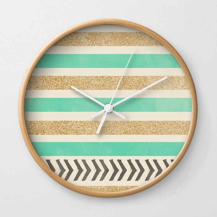 MINT AND GOLD STRIPES AND ARROWS Wall Clock