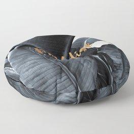 Tropical paradise - charcoal copper Floor Pillow