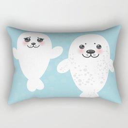 set Funny white fur seal pups, cute winking seals with pink cheeks and big eyes. Kawaii animal Rectangular Pillow