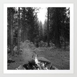 Backpacking Camp Fire B&W Art Print