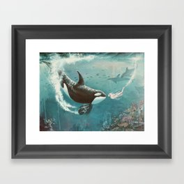 Underwater Love at First Sight Framed Art Print