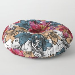 Tropical pattern with hibiscus flowers. Hawaii style watercolor Floor Pillow
