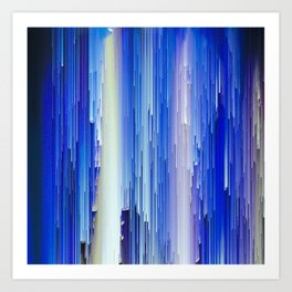 Frozen blue waterfall abstract digital painting Art Print