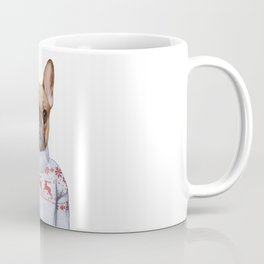 Animals as a human. French Bulldog in down vest and sweater. Coffee Mug