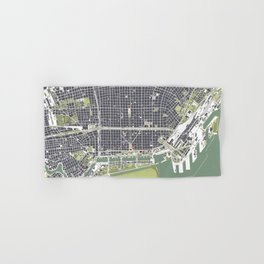 Buenos aires city map engraving Hand & Bath Towel