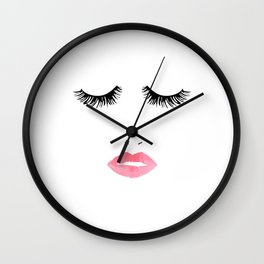 Printable Art,Makeup Print,Makeup Illustration,Lips Print,Lashes Art,Gift For Her,Bedroom Decor Wall Clock