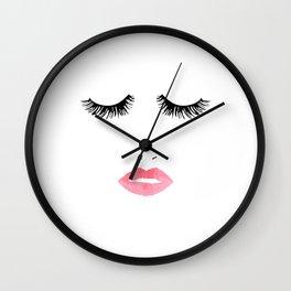 Printable Art,Makeup Print,Makeup Illustration,Lips Print,Lashes Art,Gift For Her,Bedroom Decor Wall Clock