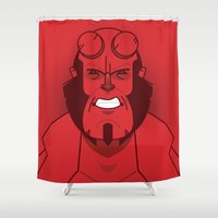 comic book Shower Curtains featuring Comic book hero by Dave Flanagan