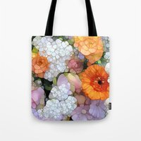 contemporary Tote Bags featuring Joy is not in Things, it is in Us! by Joke Vermeer
