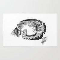 clockwork Area & Throw Rugs featuring clockwork fish by vasodelirium