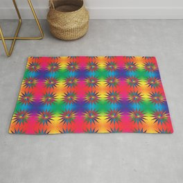 Star Rainbow Triangle Mandala  Rug