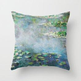 1906 Waterlily on Canvas.  Claude Monet . Vintage fine art. Throw Pillow