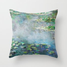 1906 Waterlily on Canvas.  Claude Monet . Vintage fine art. Throw Pillow