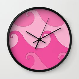Spiral Waves Pink Wall Clock