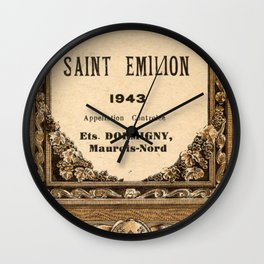 Vintage 1943 Saint Emilion Wine Bottle Label Print Wall Clock