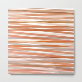 Fall Orange brown Neutral stripes Minimalist Metal Print