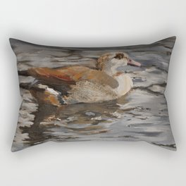 Swimming Duck Oil Painting Rectangular Pillow
