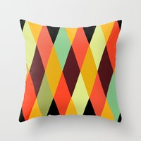 diamonds Throw Pillows featuring multicolor diamond pattern by Gary Andrew Clarke