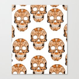 Orange Skull Pattern Canvas Print