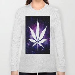 Weed : High Times Purple Blue Galaxy Long Sleeve T-shirt
