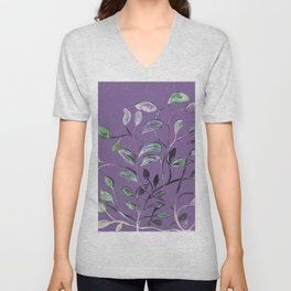 Silky Lavender Greenery Leaves Unisex V-Neck