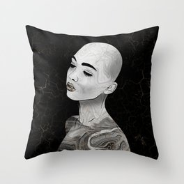 Midnight Raised - Black Marble and Gold # Throw Pillow
