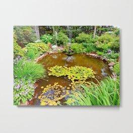 Pond and Garden Metal Print