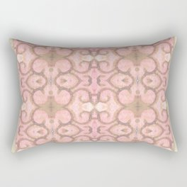 Moroccan Scroll Swirl Modern Pattern in Pink and Cocoa Rectangular Pillow