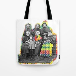 THE SIX GRANDMOTHERS IN PIXELATED PLAID Tote Bag