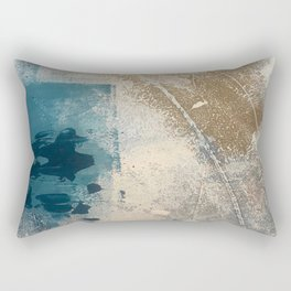 Embrace: a minimal, abstract mixed-media piece in blues and gold with a hint of pink Rectangular Pillow