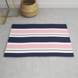 Blue Navy and Pink Stripes Rug
