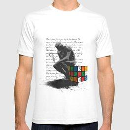WRITER'S BLOCK the thinker Rubrix cube illustration T-shirt