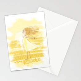 Little Girl In The Wind - Artwork that re-visits your favorite childhood memories Stationery Cards