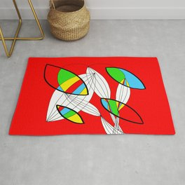 4 colors Organic objects on Red Rug