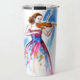 Girl playing the violin Travel Mug