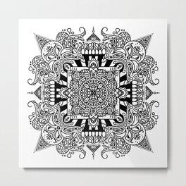 Creature Feature - doodle mandala - white and black Metal Print