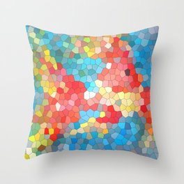 Colored red blue, yellow geometric mosaic background Throw Pillow