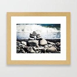 Inukshuk on Wellington Beach Framed Art Print