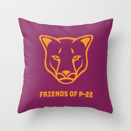 P22 Mountain Lion Orange Maroon Throw Pillow