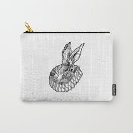RABBIT / HARE in a jabot. psychedelic / zentangle style Carry-All Pouch