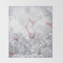 Winter Scene Rowan Berries With Snow And Bokeh #decor #buyart #society6 Throw Blanket