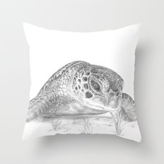 A Green Sea Turtle :: Grayscale Throw Pillow