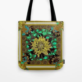 Stylized Abstracted  Khaki-Yellow Chrysanthemums Floral Tote Bag